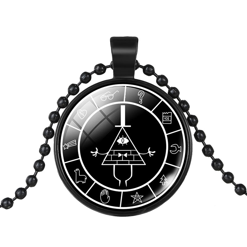 2017 Black Chain Gravity Falls BILL CIPHER WHEEL Doctor Who Glass Pendant Anime Necklace For Women Jewelry Maxi Choker Necklace
