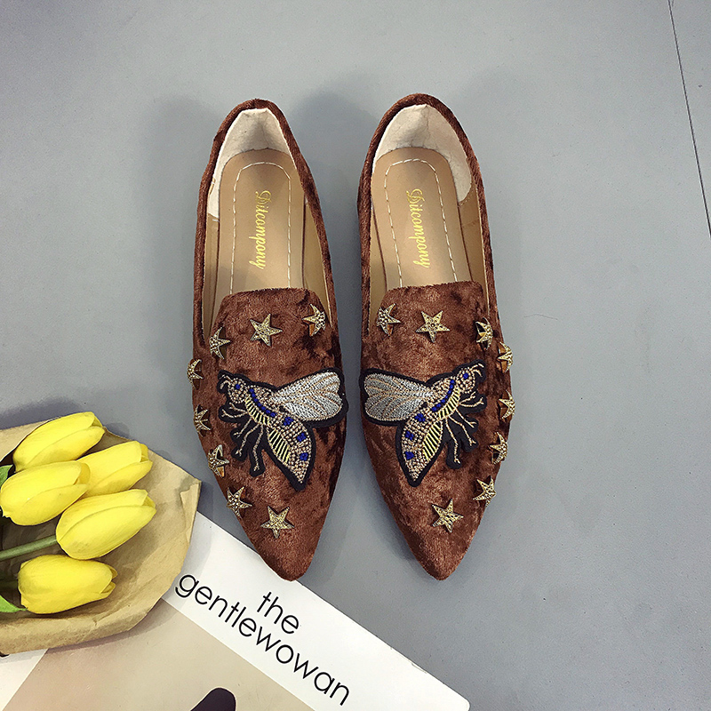 2018 spring summer women Flat shoes suede embroidered animal shoes woman slip on point toe loafers rivets fashion ladies Shoes 3