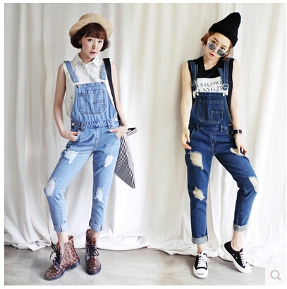2017 denim bib pants female slim personalized loose trousers ripped high waist jeans woman denim overalls for women plus size clothing women high waist jeans femme woman overalls jeans ankle length braces denim trousers female hole bib pants