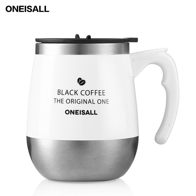 ab24e3a71c2 ONEISALL 450ML/15oz Coffee Travel Mug Stainless Steel Hot Milk Thermal Mug  With Handle,Insulated Thermo cup Tumbler White black