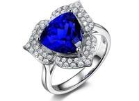 3 карата чистое серебро 925 Кольцо Сапфир ювелирные изделия Танзанит человек сделал кольцо с бриллиантом синяя Роза кольцо для женщин размер