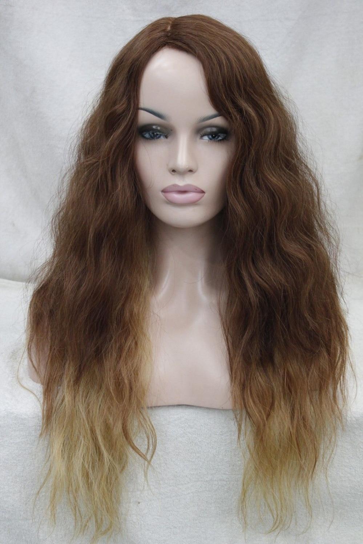 004284 High-end Medium Auburn And Blonde & mix Wavy Heat Friendly Quality Hair Long wig