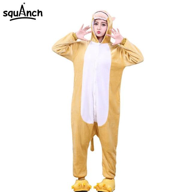 Adults Animal Pajama Monkey Onesie Women Men Flannel Party Suit Pyjama  Overalls Long Sleeve Cute Sleepwear Cartoon Winter Warm 9449dc1ac