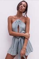 Sexy Halter Backless Summer Beach Casual Playsuit Women Sexy Hollow Out Belted Loose Rompers Boho Jumpsuit