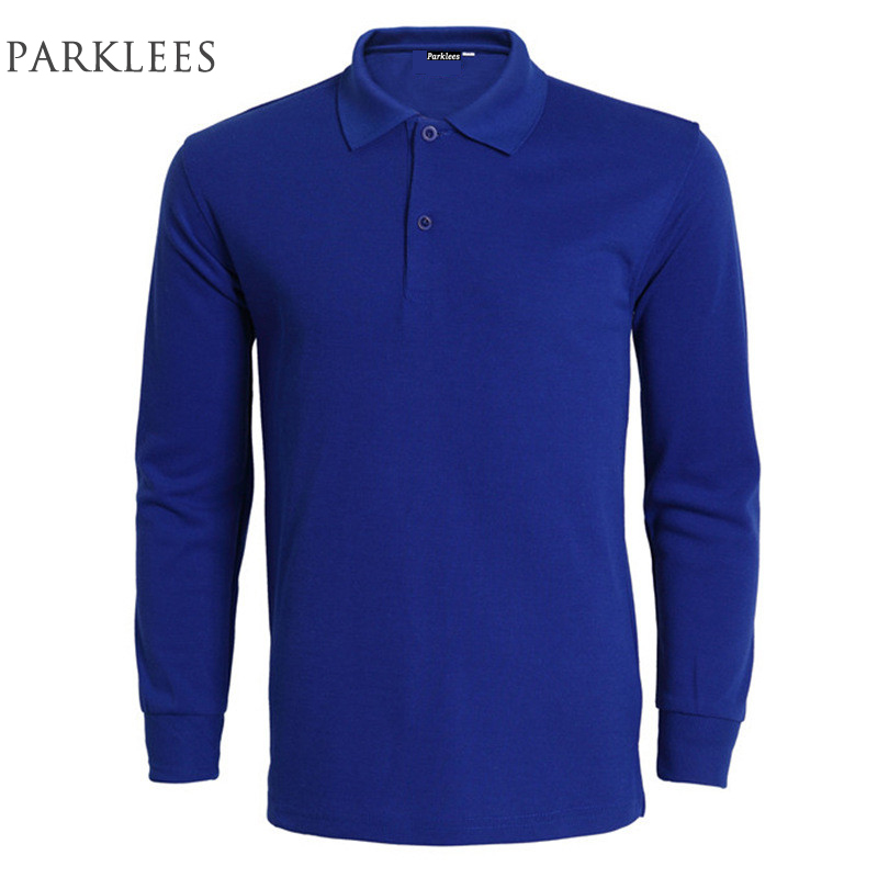 Brand Blue Polo Shirt Men Polo Homme 2016 Mens Fashion Long Sleeve Polo Shirts Casual Slim Fit Solid Color Polos 3Xl