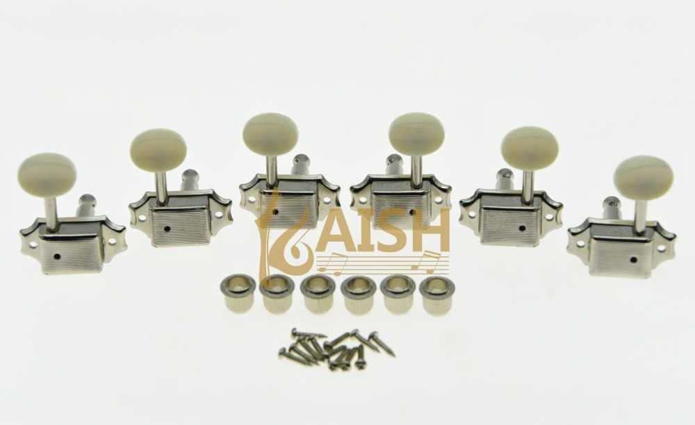 KAISH Nickel w/ Ivory Button 3L3R Vintage LP Guitar Tuners Tuning Keys Fits for LP kaish black 6 inline 2 pin locking tuning keys pegs tuners fits usa strat tele