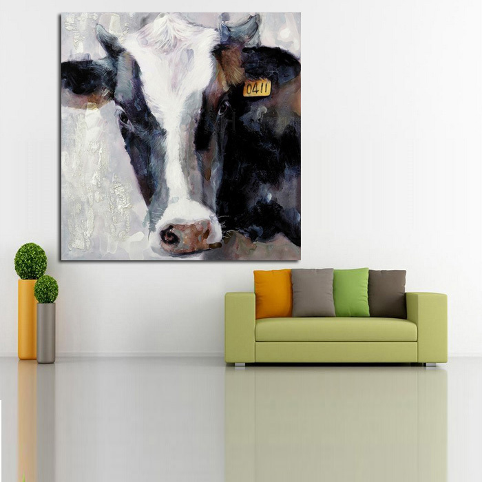 100 Freeshipping Handmade Modern Abstract Art Decorative Cow Picture On Canvas Animal Oil Painting Wall