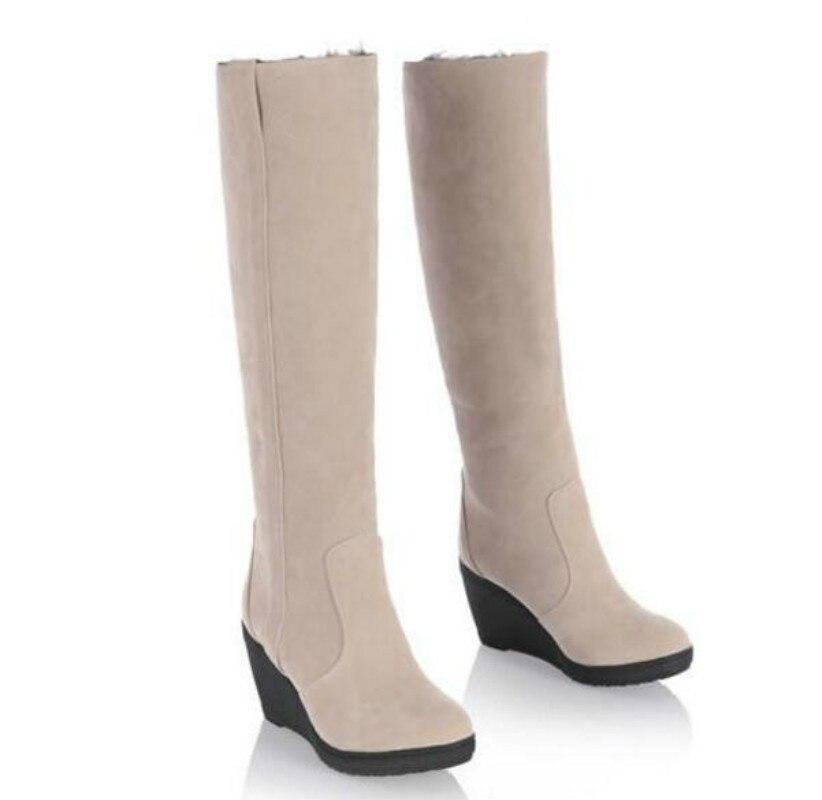 092511e6e0 Mulheres Botas de Neve Quente Sapatos de Inverno Cunhas de Alta Dobrável  Desenhar Botas de Inverno Térmicas Femininos meias até o Joelho Botas Altas  de ...