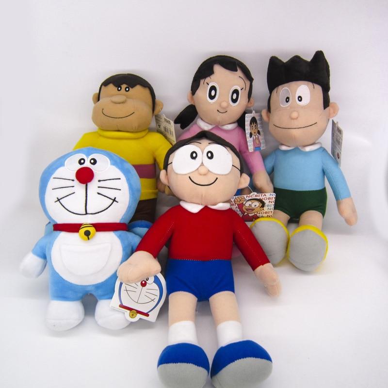 Anime Doraemon Plush Doll Nobita Nobi Doraemon Minamoto Shizuka Konta Takeshi GIANT Honekawa Suneo Cartoon Plush Toy Y599