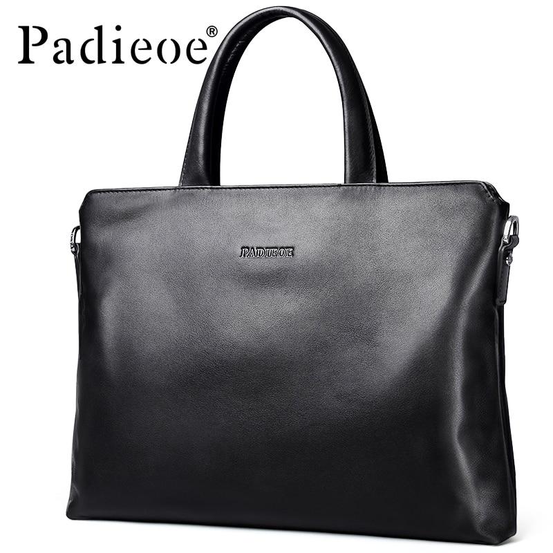 Padieoe Men's Briefcase Laptop-Bag Genuine-Cow-Leather Shoulder-Bag Business New Fashion
