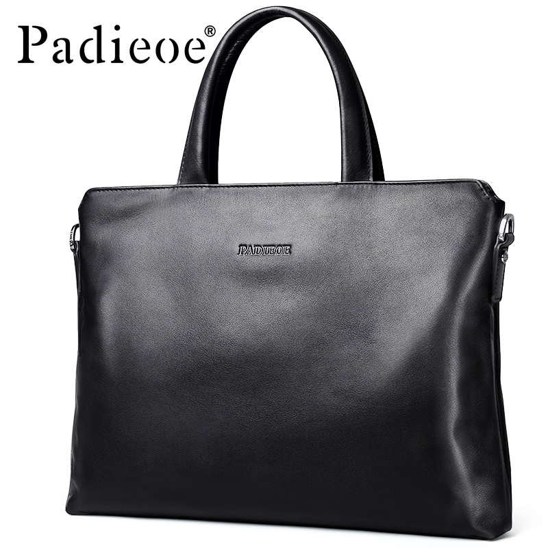 Padieoe New Designer Brand Genuine Cow Leather Men's Briefcase Fashion Solid Color Mens Shoulder Bag Business Laptop Bag