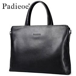 Padieoe, nueva marca de diseñador, maletín de cuero de vaca genuino para hombre, bolso de hombro de Color sólido de moda para hombre, Bolsa para portátil de negocios