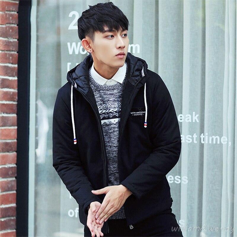 ФОТО 2017 Men's Winter Korean Brand Large Size Parka B Coat Herren Warm Zipper Cardigan Overcoat Thick Hoodie Jacket Manteau Homme