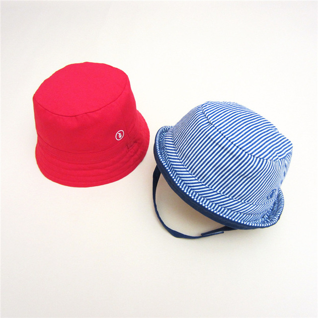 62cf8ebdf8e Baby Boy Bucket Hat Double Side Printing Baby Caps For Boys Chin Strap Cap  Kids Panama Hats Spring Children Fisher Hat
