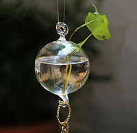 Transparent Glass Crystal Hanging Plant Flower Vase Hydroponic Container Pot Home Wedding Office Decor Gift Diam