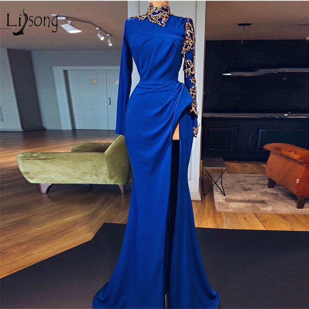 Robes de soirée sirène longues bleu Royal musulman 2019 Sexy haut côté Split robes de bal or décoration Vintage robe formelle