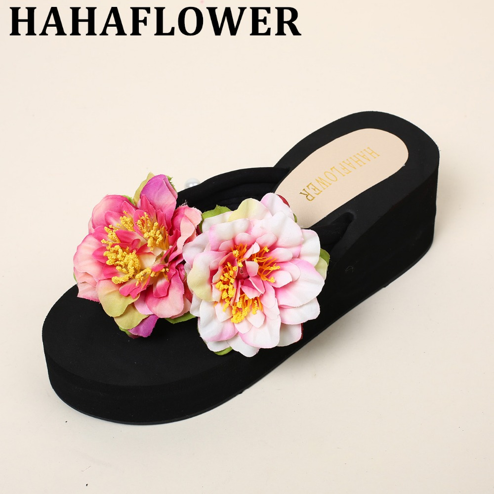 HAHA FLOWER New hot summer simple sweet cute hand made flowers beach sandals fashion Soft Slippers comfortable Flip flops xml made simple