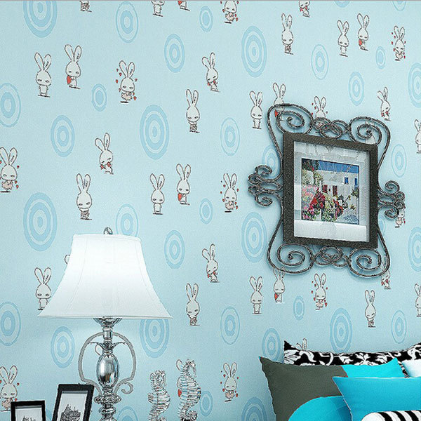 Eco friendly lovely cartoon rabbit design wallpaper roll children bedroom decor wall paper non woven