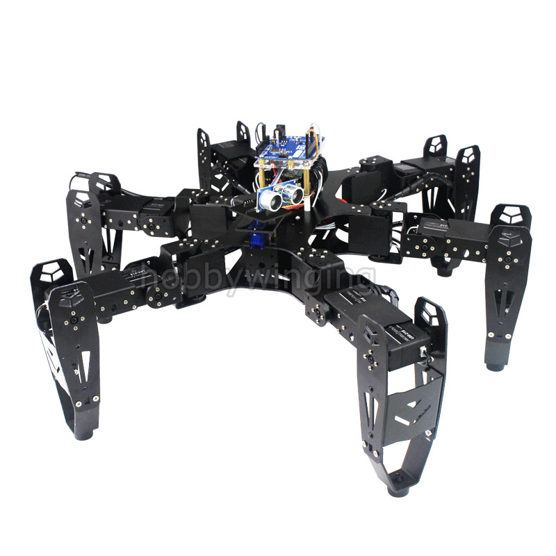 18 DOF Aluminium Hexapod Spider Six legged Robot DIY Development Kit phone Remote Control Bionic Spider Multi learning Education
