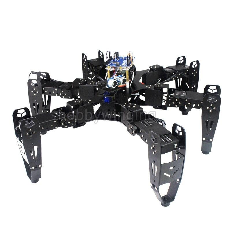 18 dof Алюминий Hexapod Паук шестиногий робот развития DIY Kit Телефон Дистанционное управление бионический паук Multi Learning образования