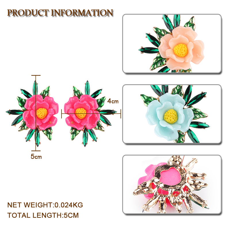 Miwens Big Resin Flower Stud Earrings For Women Gift Fashion Pinky Color Cute Floral Statement Earrings Charm Jewelry Pendientes