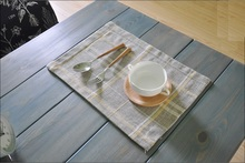 Rectangle Table Mats Horizontal stripe chequer Pattern Doilies Cotton Linen Fabric for Dinning Table Decoration Accessories