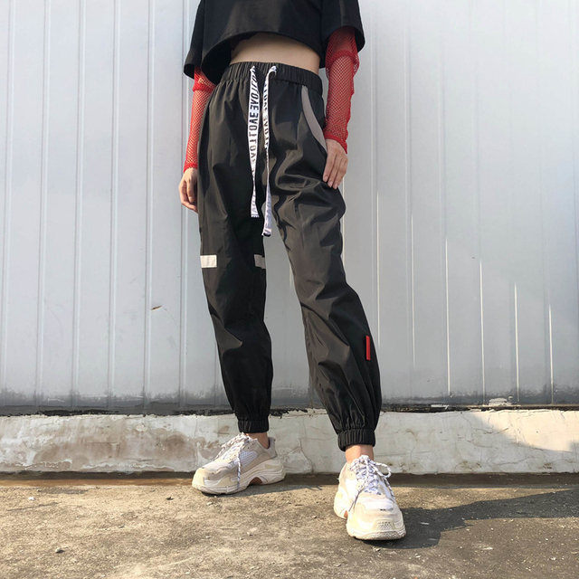 46e01bee4 Long Black Track Pants Satin Loose Joggers Casual Sweatpants For Women  Relax Trousers Girls Student Street Style Wear Pntalones