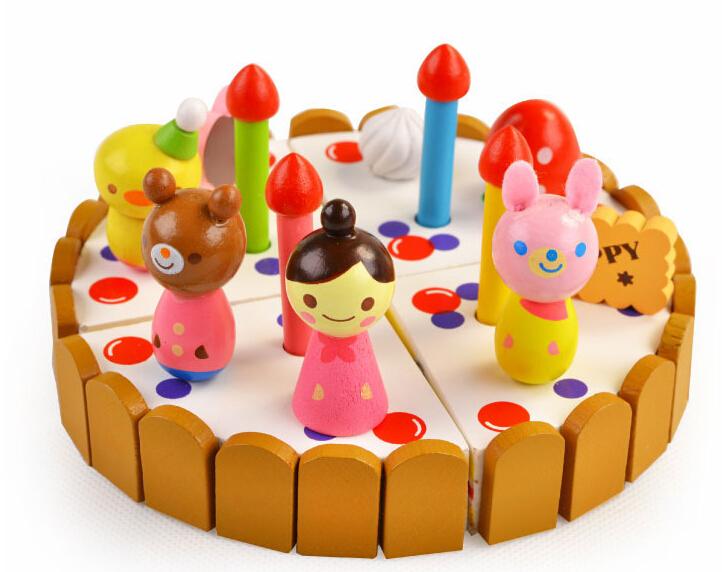 papel de cocina de juguete de simulacin de madera de fresa pastel de cumpleaos fruta juguetes