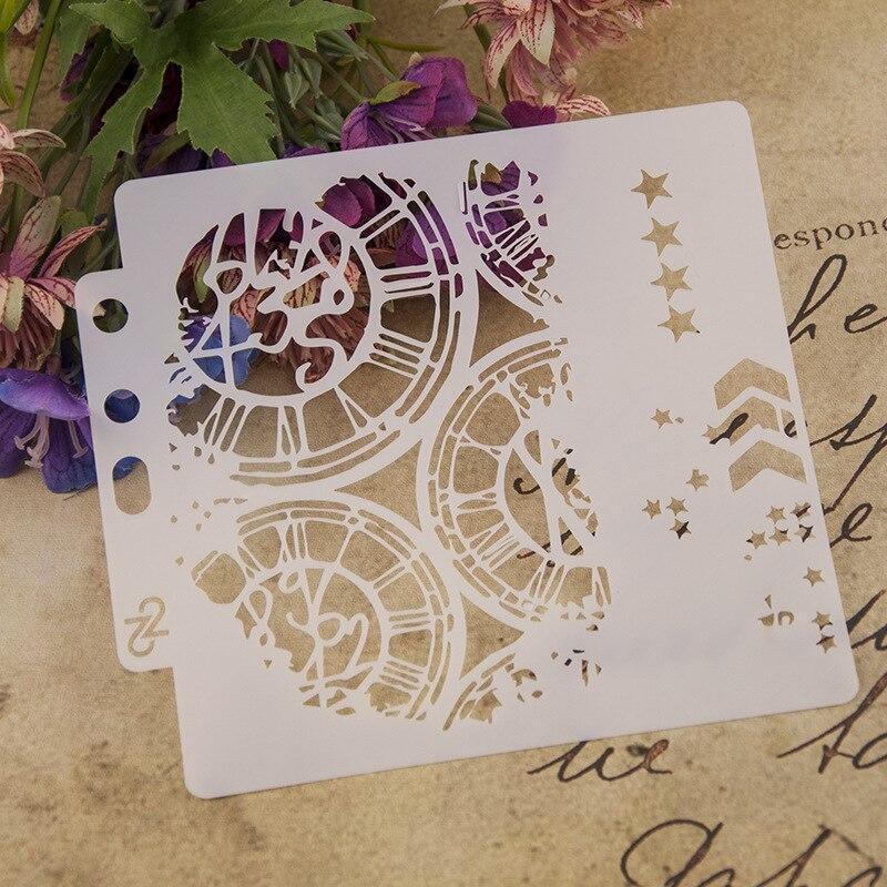 1Pcs 13cm Clock Dial Wheel Arrow Layering Stencils Painting Scrapbook Coloring Embossing Album Decorative Paper Card Template