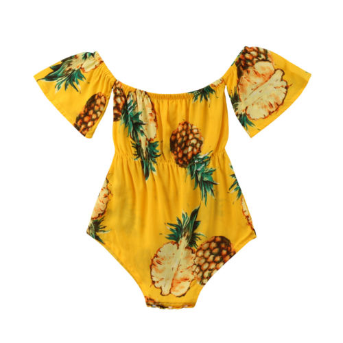 Infant Baby Girl Pineapple   Romper   Jumpsuit Fruit Print Sunsuit Outfit Clothes 0-24M