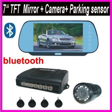 "Car Backup Parking Rear View Mirror bluetooth 7"" LCD w/ IR Camera +Parking Sensor free shipping"