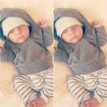2PCS Set Baby Girls Warm Long Sleeve Hooded Shirt Tops font b Jacket b font Striped
