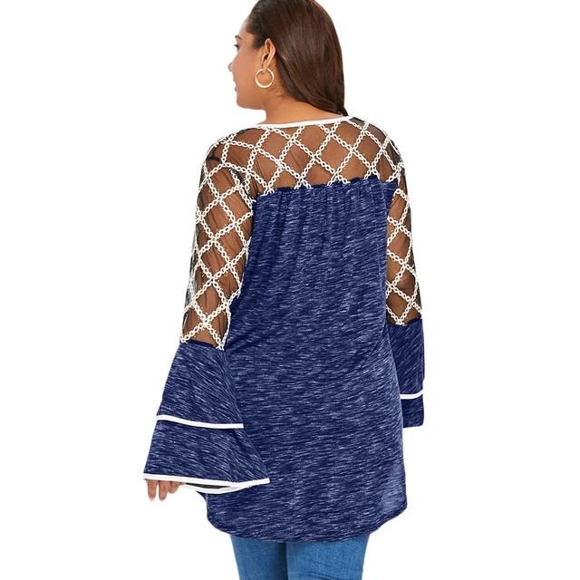 Plus Size Mesh Top Women's T-shirt Long Sleeve