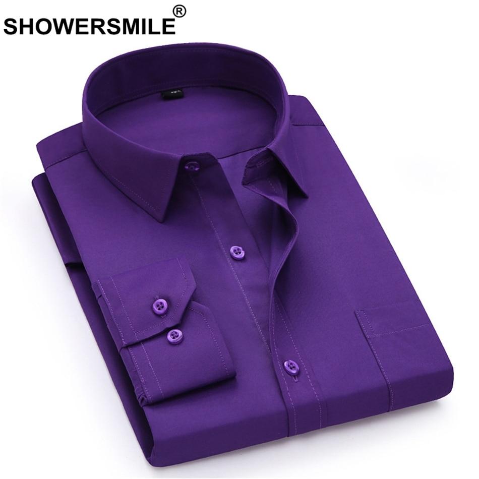 Showersmile Men Dress Shirt Long Sleeve Formal Shirt Yellow Spring Autumn Business Big Size 4xl Male Social Shirt Brand Clothing