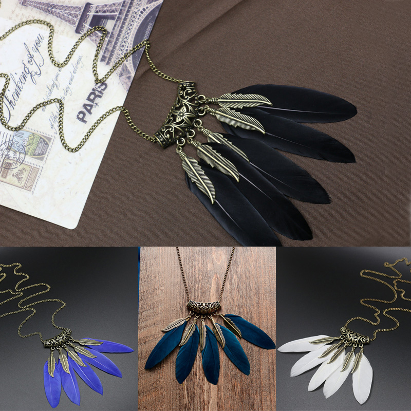 2016 Fashion Women Hot Sale BOHO Ethnic Style Feather Pendant Retro Leaves Vintage Necklace Sweater Chain New