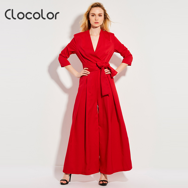 Clocolor Summer Casual Jumpsuit High Waist Full Length Pleated Patchwork Party Beach Elegant Loose Red Jumpsuit