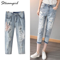 Harem Ripped Jeans For Women Embroidered Jean Boyfriend Femme Distressed Pearl Jeans With Beads Destroyed Denim Women Capris