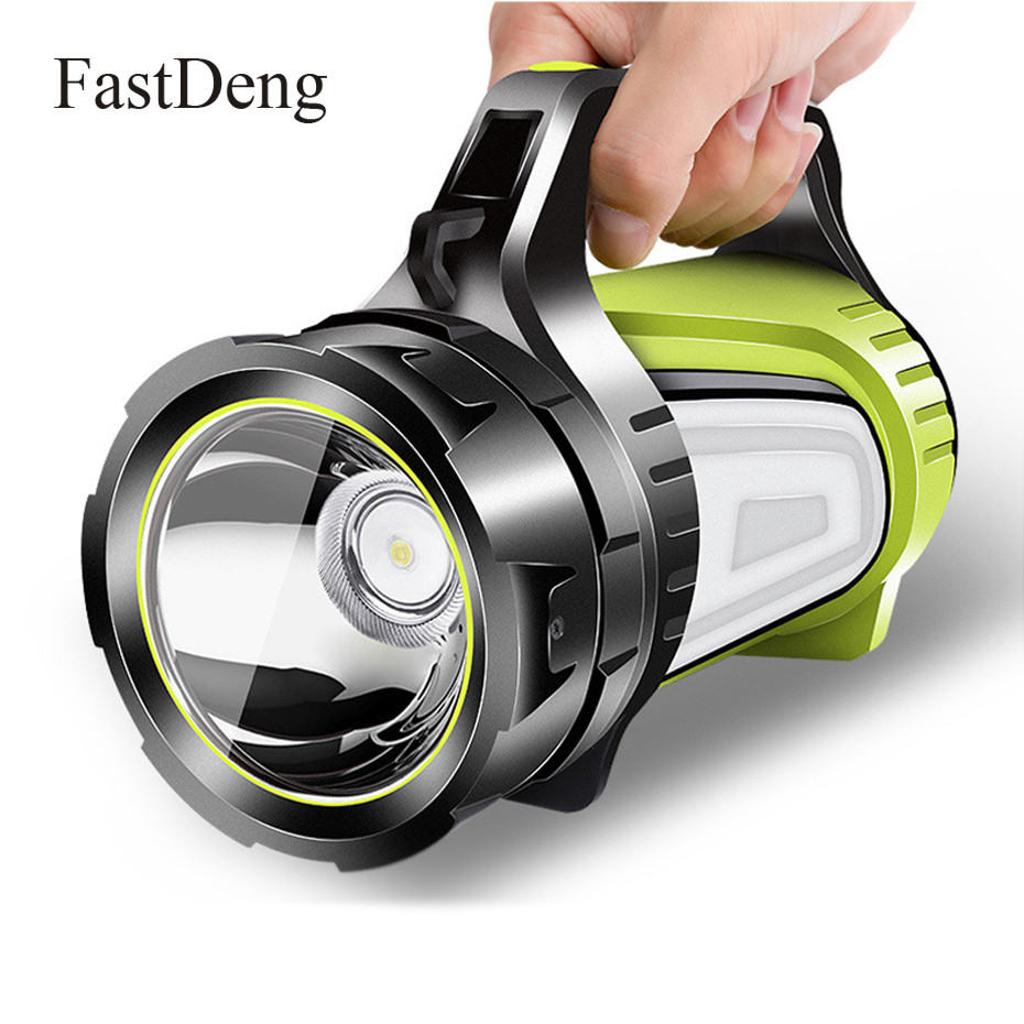 High Power LED Searchlight Lantern Built-in Battery Handheld Portable Spotlight 10 Mode Rechargeable Waterproof Flashlight Torch