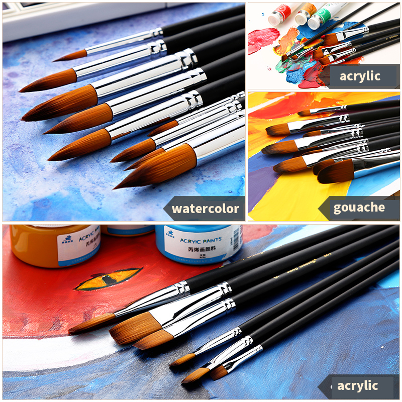 Купить с кэшбэком 9Pcs/set Artist Paint Brush Round ,Pointed,Flat ,Oblique Art Paint Brushes For Oil ,Watercolor ,Acrylic Painting Art Supplies
