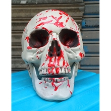 Bloody Human Plastic Skull Decoration Prop Skeleton Head Halloween Decor HG6155