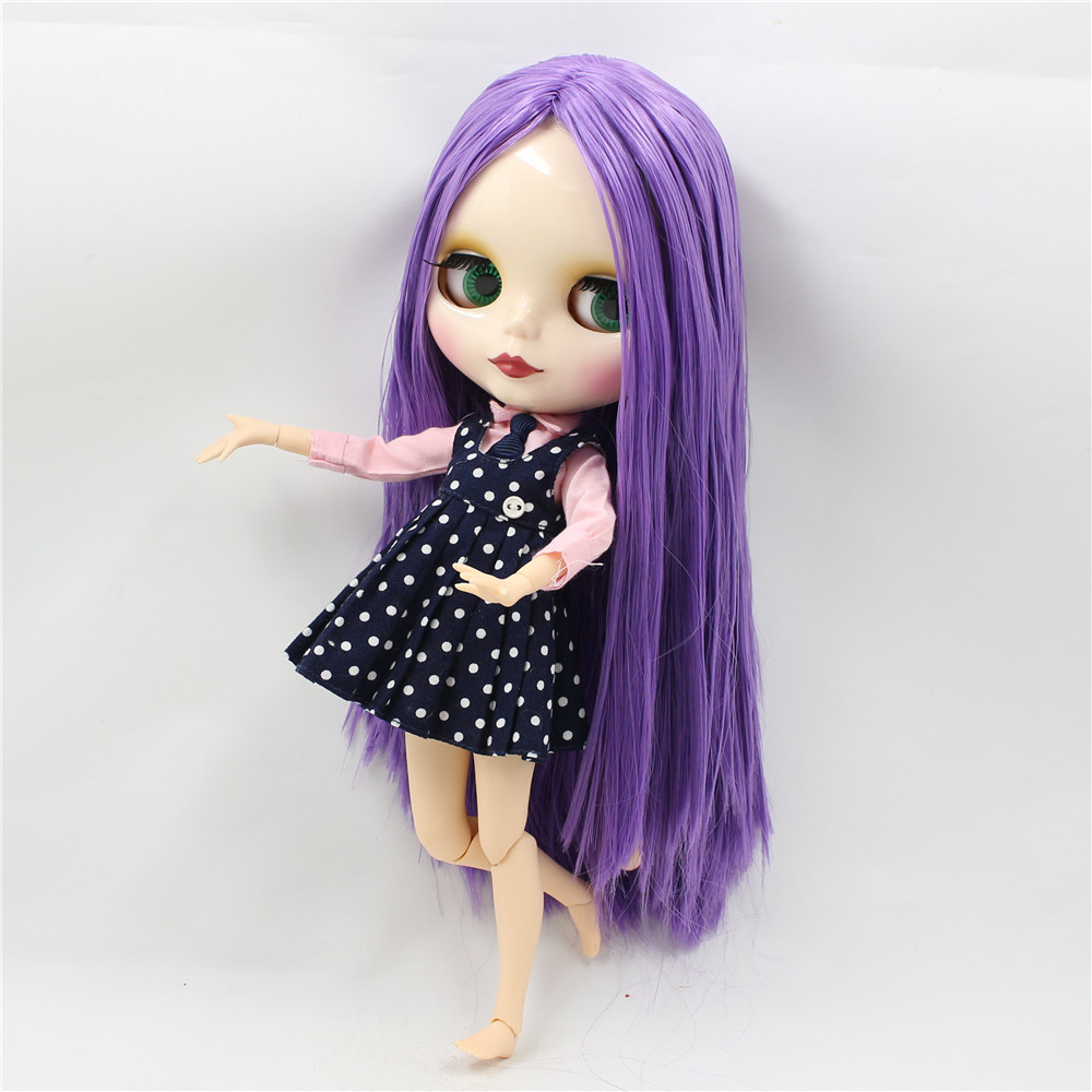 Neo Blythe Doll with Purple Hair, White Skin, Shiny Face & Jointed Body 4