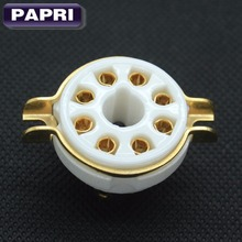 10PCS K8A Ceramics Gold plated 8pin tube Socket Chassis Mount For Audio HIFI KT88 EL34 6SN7