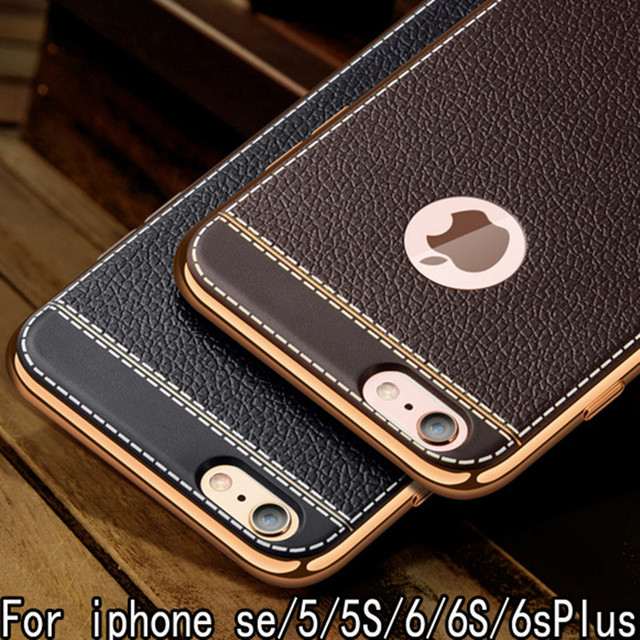 Litchi Pattern Soft Silicone Cases for Apple iPhone 8 Case Luxury Leather 5 5s 6s 7 Plus iPhone x