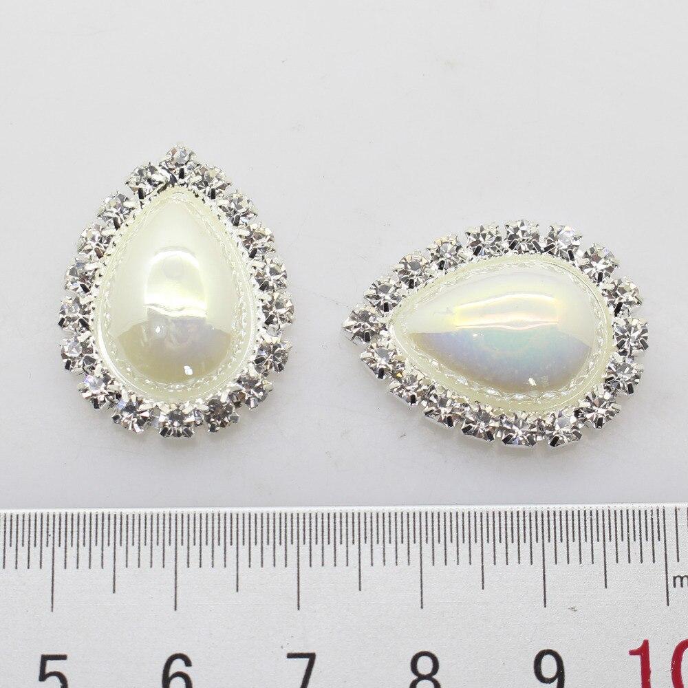 10pcs 25 * 20mm Water Drop pearl Rhinestone button Invitation DIY Ribbon Accessores Wedding Decorative.