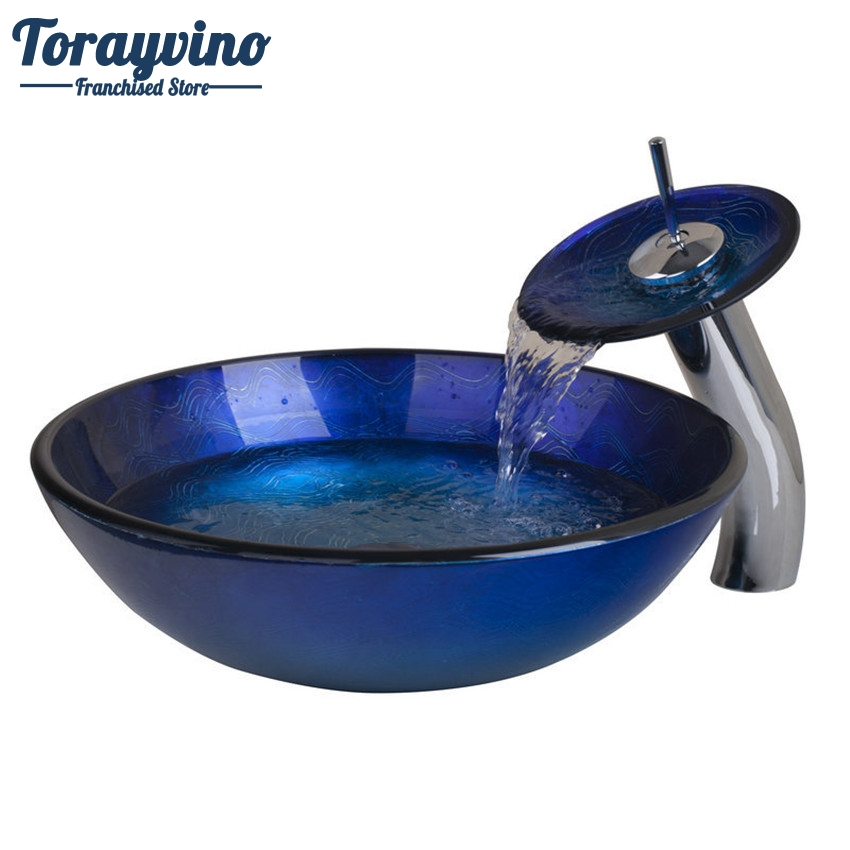 Torayvino Bathroom Round Basin Sink Deck Mount Tap+Bathroom Sink Washbasin Glass Hand-Painted Lavatory Bath Brass Set Faucet Set