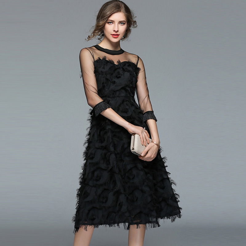 Party Black Dress Robe Femme Great Gatsby Flapper Sequin Fringe Embroidery Women Midi Dress Summer Deco Retro Black Dress C22 A