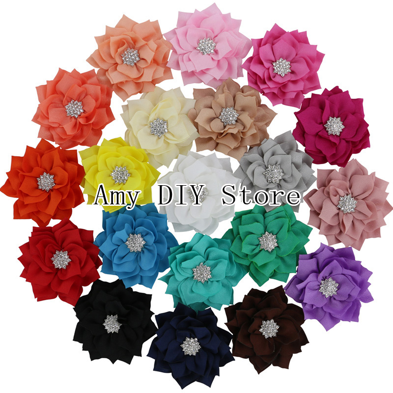 "MyAmy 40Pcs 3"" Boutique Fabric Flowers DIY Felt Flowers Garment Flowers Hair Flower Bows For Girls Children Kids Teens"