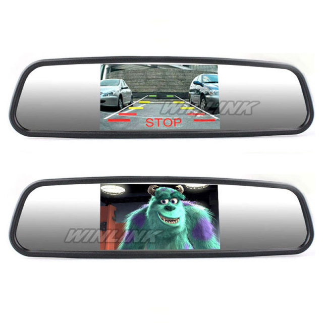 "Free shipping! 4.3"" TFT Car Monitor Mirror View Rearview Auto LCD Screen Backup Camera for Car Reversing Record"
