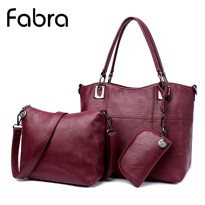Fabra 3Pcs/Lot Women Bag Casual Tote Women Messenger Bags Handbag Set PU Leather Composite Bag Women Crossbody Bags Wine Red
