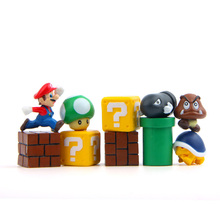 цена 10pcs/set Super Mario Bros Bundle Blocks Figures Mario Goomba Luigi Koopa Troopa and Mushroom Mini Figures Toys